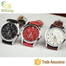2015 New Double Calendar Mens Watch Quartz Leather Quartz Watch Day/date Wrist Watch