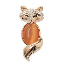 Top selling brooch jewelry high quality orange fox resins brooch/rhinestone brooch