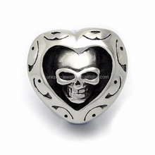 Heart shape ring Jewelry men's 316l large stainless steel rings male skull ring