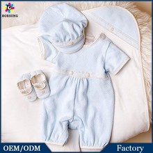Blue Quilited Newbron Baby Boys Clothes Jumpsuit Cotton Frocks Designs Baby Romper