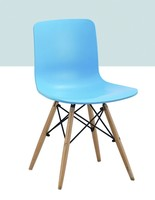 PP seat back wood legs differents colors chairs Plastic chair factory