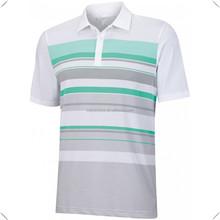 custom made sport performance stripe polo shirt white green,sublimation printing stripes Dri Fit Cool Pass Golf Shirts OEM