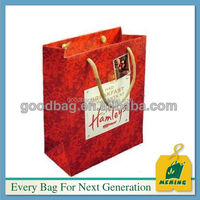 top sale luxury CMYK printed red paper shopping packing bag