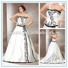 A-line Sweetheart Court Train Satin Black and White Wedding Dresses 2012 with Split Front