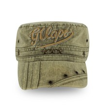 embroidery army green washed military cap