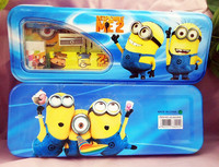 TF-G03150803031 2015 hot sell minion despicable me pencil case set with2 pencil 1 earse ruler sharpener