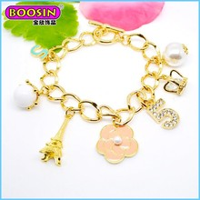 Gold plated alibaba wholesale women chain fashion bracelet with charm