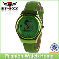 Newest lovely green leather band parent watches china leather watches