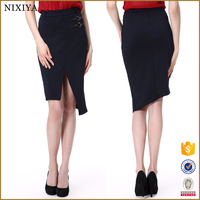 Wholesale Office Lady Fitted Design High Slit Polyester Pencil Skirt