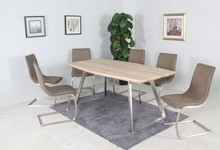 Dining table paper veneer top or high gloss and brushed stainless steel legs