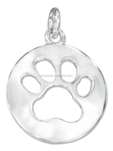 Stainless Steel Silver High Polish Round Silhouette Paw Print Pendant With Charm Chain