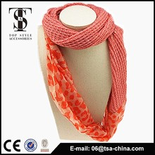 2015 knitted girl scarf with printed