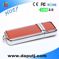 simple leather style usb drive for business promotion gift items with brand logo print 2GB shenzhen factory