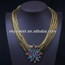 Vertente colar pingente de cristal, indiano de ouro colar de corrente cobra