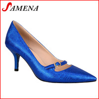 Ladies dress shoes royal blue high heel pumps women spring autumn shoes