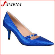 Ladies dress shoes royal blue high heel pumps women spring autumn shoes