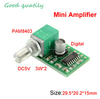 PAM8403 DC5Vdc 2 Channel Super Mini digital Power Audio Amplifier Board 3Wx2 2*3 W with Volume control Switch