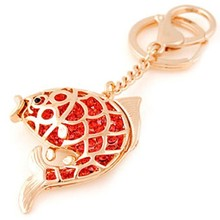 2015 Hot selling fish keychain wholesale, crystal carp fish key chain , gold metal fish keyring