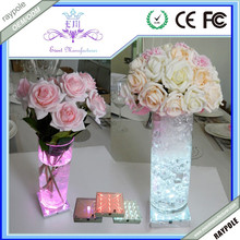 Multi-color 4Inch Square LED glass flower vase light base for Table centerpieces