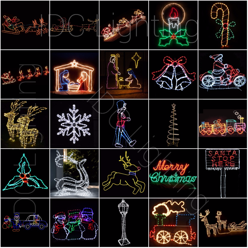 Outdoor Christmas Rope Light Silhouettes