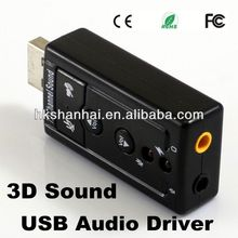 High quality 3D Sound usb audio driver USB External 7.1 Channel