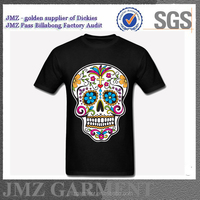 custom wholesale funny skull tee shirts OEM men black white colourway clothing supplier from China