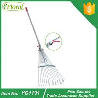 Adjustable leaf grabber rake