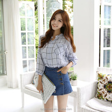 2015 Spring Fashion Casual Women blouse long sleeve linen Plaid tops button up shirts