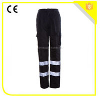 cheap black safety cargo pants with reflective tape/mens working pants uniform trousers