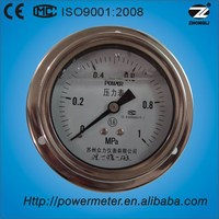 "4"" 100mm stainless steel case back type with flange oil filled tenth dail plate pressure gauge manometer for customize"