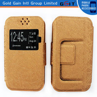 """New Universal Wallet View Window PU Leather Flip Case Cover For 3.5"""" Mobile Phone"""