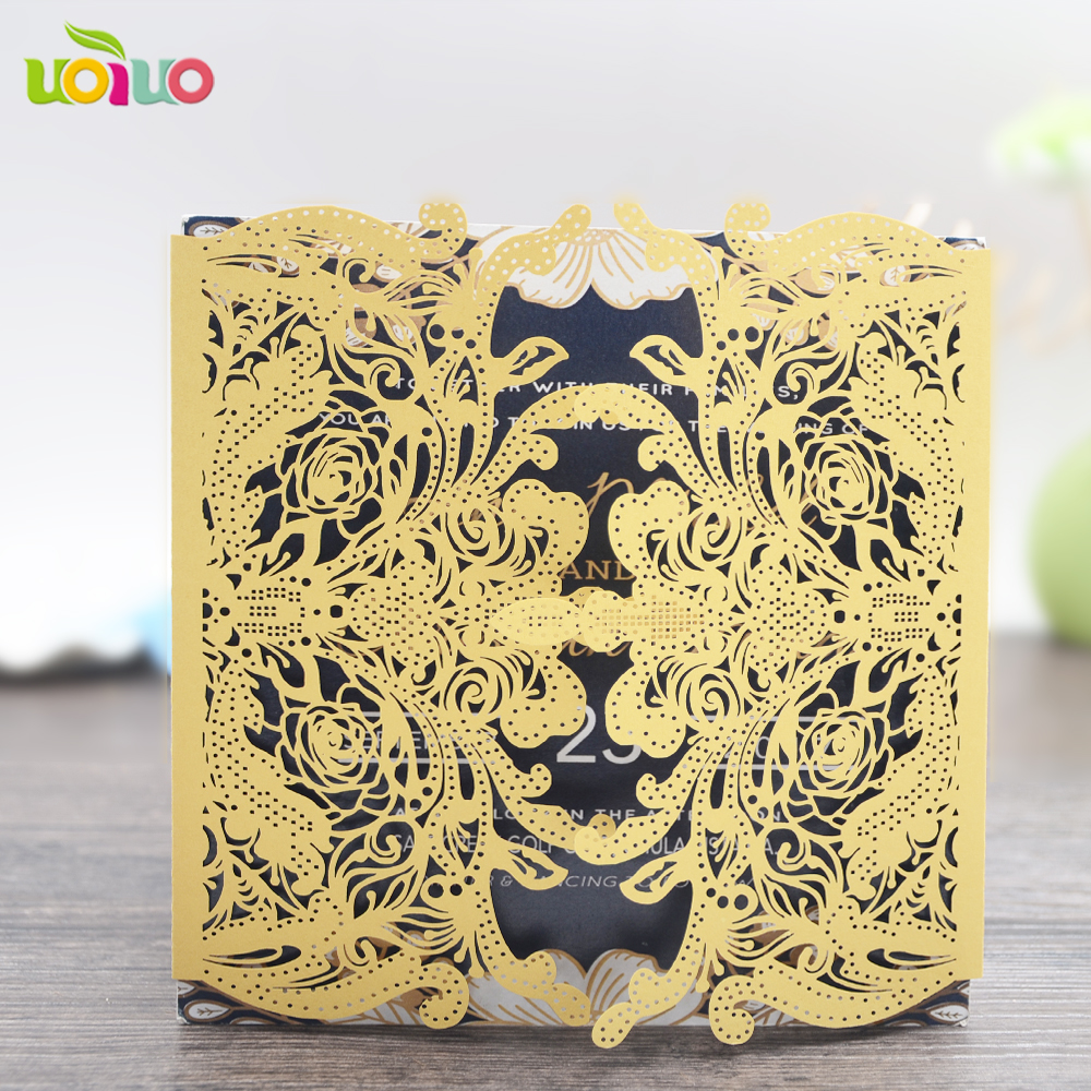 luxury white crown shaped wedding invitation card gold