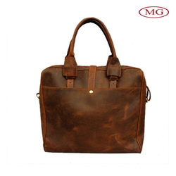 2015 latest business men bag real leather briefcase bag for laptop 14'' with small moq