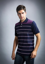 2015 men's casual polo t shirt with stripe