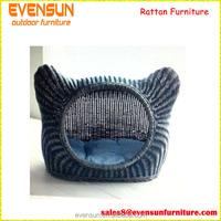 Unique Cat Ears Leisure Wicker Pet Bed