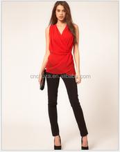 Z10717A Ladies top fashion blouse deep v-neck waist corssed high waist chiffon blouse