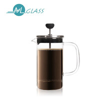 China supplier clear glass coffee press coffee tea pot with handle handmade glassware OEM 300ml