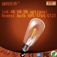 Unique style glass housing ST64 dimmable LED bulb E27, LED lighting bulb