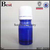 5ml blue mini essential oil bottle with safety plastic cap and reducer, free sample, OEM printing service, bulk perfume oil 2015