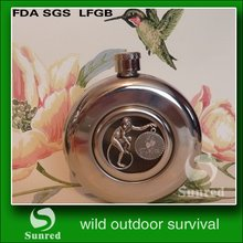 contemporary stylish stainless steel 8oz round hip flask
