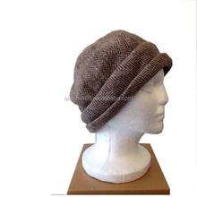 Women's Brown stylish Wool Herringbone Tweed Knitted Hat Custom