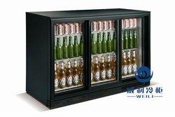 Three sliding door beer fridge commercial retail refrigerator