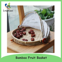 Handicraft Flat Bamboo Drying Fruit Basket with Net Cover
