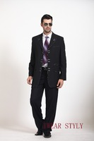 2015 fashion notch lapel black customized men's suits