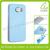 Crystal Clear Scratch Resistant Bumper Case with Back Leather Cover for Samsung Galaxy S6 Case
