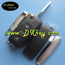 High quality 3 button flip key shell (HU66) for universal key vw vw key blank for Phaeton Touareg Sagitar Golf Touran Tiguan