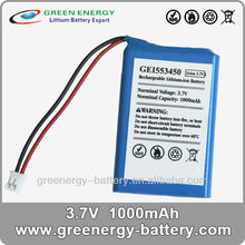 lithium high rate li-ion 3.7v 1000mah batteriesc rechargeable storage battery