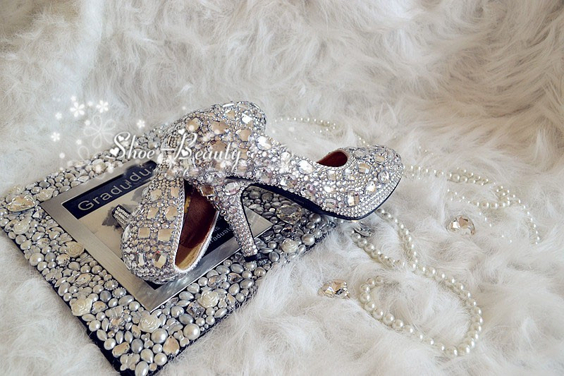 Handmade Lady Bridal Shoes Wedding Dress Shoes Diamond Woman Spring Evening Prom Party Dress Shoes Dazzing 9cm high Heel shoes