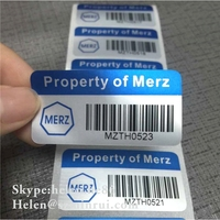High Quality Asset Label Printed with Barcode,Fixed Asset Tag Labels with Serials Numubering for Tracing