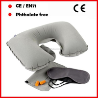Flocking PVC grey color neck pillow /travel pillow with eye mask and ear plug for promotion